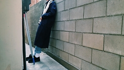 Mushroooooom H - Asos Navy Coat, Dr. Martens Dr.Martens Shoes, Asos Denim Pants - In the wall