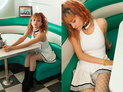 AMINTA ONLINE - We Love Colors Tank Leotard, Goodwill Pleated Skirt, We Love Colors Diamond Fishnets - American Diner