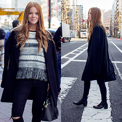 Kiara King - Morrison Cocoon Coat, Minkpink Knitted Jumper, Dricoper Ripped Denim, Zara Bag -  A Welcomed Kiss in Tokyo