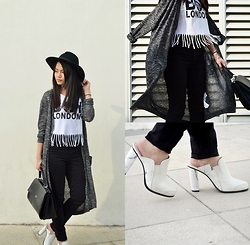 Zaira Chan - Romwe Hat, H&M Pants, Cotton On Long Cardigan, Prada Bag, Charles & Keith Mules - Fringe & Marble