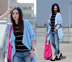 ANETTE ...ideaforfashion - Sheinside Coat - BABY BLUE & PINK