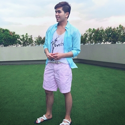 Christian Salonga - H&M Pastel Blue Button Down, H&M Graphic Tank Top, Abercrombie & Fitch Pastel Pink Shorts - Caught On Candy