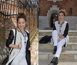Marija M. - Choies White Coat, Tally Weijl Black Ankle Boots - Whites