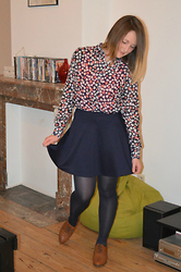 Laurence & Caroline Henuzet - Stradivarius Heart Blouse, Asos Blue Skirt, H&M Camel Shoes - British Style - Heart Blouse