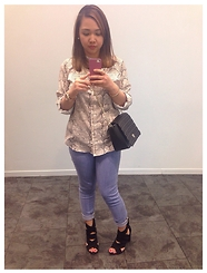 Iza Fugen - Just Fab Crossbody Bag, Calvin Klein Blouse, Michael Kors Watch, Gap Pants, Zara Heels, Rimmel London Lippie, H&M Bracelet, Mexx Earrings - Spring ready!