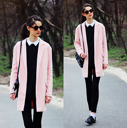 Nora Aradi - Choies Sweater, Frontrowshop Bag, Zara Pants, Primark Oxfords, Sheinside Coat, Zerouv Sunnies - Black and pastel