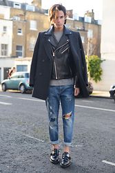 Gianni Sarracino - Isabel Marant Coat, Zara Denim, Balenciaga Derby Buckle Shoes - LEATHER+WOOL