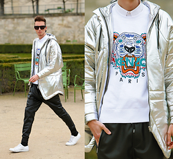 Chaby H. - Cukovy Silver Coat, Kenzo Tiger Sweater, Leather Joggers, Alexander Wang Sunglasses - Future