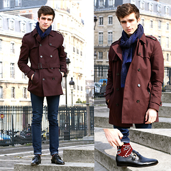 "Matthias C. - Burgundy Trench Coat, Indigo Skinny Jeans, Pair Of Kings Buckled Leather Shoes, Pullin Patterned Socks, Celioclub Patterned Scarf - ""Aeson"""