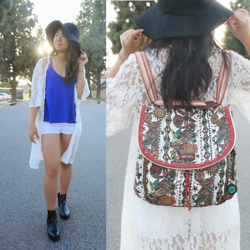Shirley M - Ross Blue Tank, American Eagle Outfitters White Shorts, Sakroots Backpack, Windsor Black Floppy Hat, Ross Lace Cardigan, Steve Madden Black Chelsea Boots - Wishful Thinking
