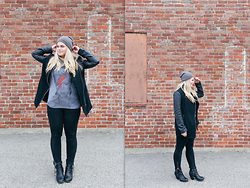 Britnie Harlow - H&M Beanie, Newbury Comics Bowie T Shirt, American Eagle Outfitters Wool & Leather Coat, Forever 21 Denim, Charlotte Russe Ankle Boots - Black leather + bowie