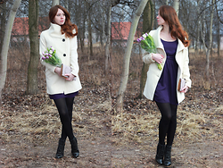 Anna Aleshina - Bershka Coat, Asos Clutch, Asos Tulip Dress, Jewelry - Violet