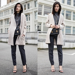 Claire Liu - Sheinside Apricot Coat, Theory Pants, Sophie Hulme Envelope Bag - Apricot Coat