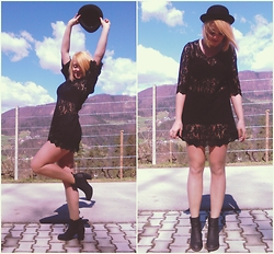 Valerie Teacup - H&M Hat, H&M Crochet Dress, H&M Ankle Boots, H&M Shorts - Walk on by