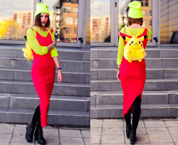 Evilish Queeny - Second Hand Citrus Mesh Shirt, Second Hand Bodycon Maxi Dress, Second Hand Nintendo Pikachu Backpack, Nowistyle Neon Beanie - Pikachu