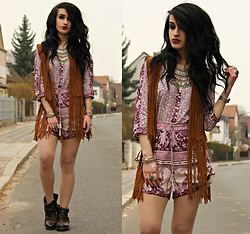 Tessa Diamondly - Zara Fringed Vest, Spell Designs Playsuit - This moment will just be another story someday.
