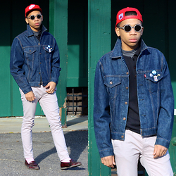 Donovan Alexander - Levi's® Classic Denim Jacket, Marc By Jacobs Polo, St Johns Bay Turtleneck, Ralph Lauren Pink Socks, Cole Haan Penny Loafers, Giorgio Armani Eyewear, Mitchell & Ness Vintage Snapback - Thank U Kind Sir