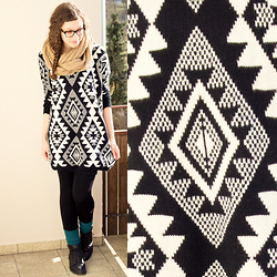 Sabrina X - Primark Loop Scarf, Sheinside Oversized Aztec Print Sweater Dress, H&M Socks, Primark Boots - .0005