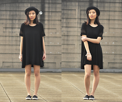 Cleo - H&M Hat, Brandy Melville Usa Tshirt Dress, Target Slip Ons - My Black Mini Dress