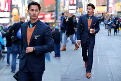 The Filo Dapper - Tiño Suits Suit, H&M Button Down Shirt, Banana Republic Pull Over Shirt, H&M Knitted Tie, Otaa Lapel, Magnanni Double Monk Strap - Dapper in Time Square