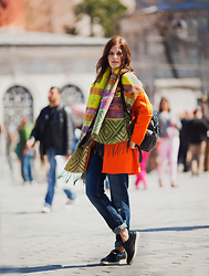 Viktoriya Sener - Chic Wish Scarf, Lightinthebox Coat, Chic Wish Backpack, Zara Jeans, Asos Brogues - ORANGE