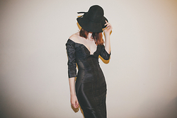 Josephine Giles - Sportsgirl Wide Brimmed Hat, Gcg Custom Made Dress W/ Mesh Panels - Enough is never enough.