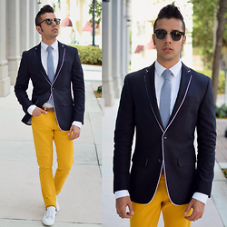 Franko Dean - H&M Yellow Chinos, Bariii Navy Blazer, Zara Sneakers, Bows N Ties Tie, Ray Ban Clubmasters Sunglasses - Color Spring..