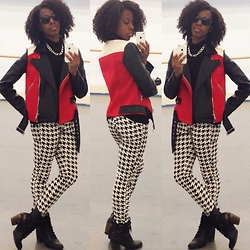 Dara H. - Express Color Block Jacket, Forever 21 Houndstooth Skinnies, Dsw Booties - Textbook Fashion