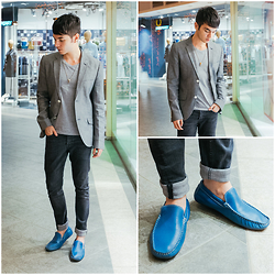 Ira Giorgetti - Topman Blazer, All Saints Skinny Jeans, Por Santo Leather Loafers, Thread 365 Shirt, Asos Necklace - Easy Blue