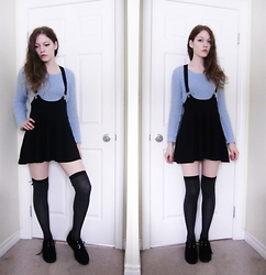 Raquel Teichroeb - H&M Black Pinafore, H&M Periwinkle Knit Crop Sweater, Thigh Highs, Creepers - Can I Be Your Nothing?