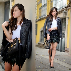 "Gaby Gómez MODA CAPITAL - Choies Skirt, Stradivarius Leather Jacket, 3.1 Phillip Lim Bag, Aristocrazy Necklace - ""Black feathers"""