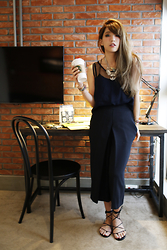 MillyQ Chung - See Through Top, Culottes, Michael Kors Bradshaw Lace Up Flat Sandals, Satellite Bijoux Paris Thelma Silver Color Necklace - Yes.Coffee Please.