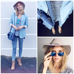 Emma Jane Menteath - Cotton On Skinny Jeans, Witchery Blazer, Sunglass Hut Sunglasses, Topshop Hat, Woolworths Handbag - Hues of Blue