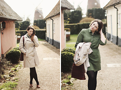 Rebecca Cohen - Laura Ashley Trench Coat, Topshop Dress, Oasis Loafers - I fell straight into your arms.