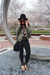 Linda B - Pacsun Black High Waisted Jeans, Justfab Studded Sandals, H&M Shoulder Bag, Target Wide Brim Hat - Florals for Spring