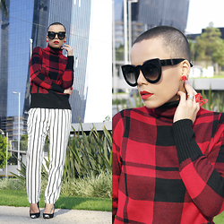 Priscila Diniz - Sweater, Striped Pants, Earrings On Description, Ring On Description, Sunnies On Description - Red Plaid!