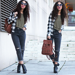 Larissa B. - Subdued Ripped Mom Jeans, Subdued Army Green Crop Top Ruffle, Subdued Check Print Black Beige White Contrast Shirt, Subdued Brown Tan Leather Backpack Bag, Chic Wish Black Chuck Heel Boots - Momma jeans