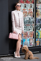 Elena Barolo - Les Conservatoire Des Lunettes Sunglasses, Twisty Pink And Grey Jacket, Twisty Pink And Grey Shorts, Marciano White Stiletto, Fendi Pink Bag, & Other Stories White Turtleneck - Pink is my new obsession!