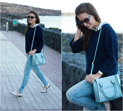 Carolina González Toledo - Stradivarius Sweater, Primark Bag, Primark Jeans, Primark Flat Shoes - Blue Bag