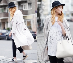 Ebba Zingmark - Due Fashion Dress, Urban Outfitters Trenchcoat, Forever 21 Trousers, Urban Outfitters Bag, Intentionally Blank Shoes, Hat - The perfect hideout