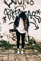 Nicola HM - H&M Hat, New Look Jacket, Zara Jumper, All Saints Jeans, River Island Slip On Shoes - Monochrome Me in a Colourful London