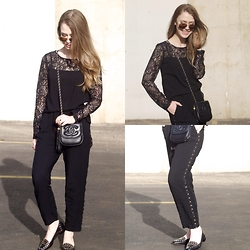 Julia Weber - Trixxi Clothing Blouse, Chanel Cross Body Bag, Nordstrom Cropped Studded Pants, Diane Von Furstenberg Loafers, Ray Ban Aviators - Black & Gold, always.