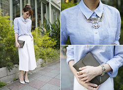 MillyQ Chung - Elizabeth And James Carrine Shirt, Satellite Bijoux Paris Thelma Silver Color Necklace, Céline Clutch - Get Ready & Be Chic to Work!