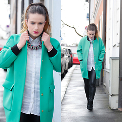 Jules - Miss Sixty Jacket, H&M Necklace, H&M Shirt, Only Leggings, Mango Shoes - Business as usual