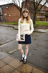 Toni Caroline - Eudon Choi Crew Neck Jumper, Ballad Of Magazine, Miss Selfridge Button Through A Line Skirt - BALLAD OF