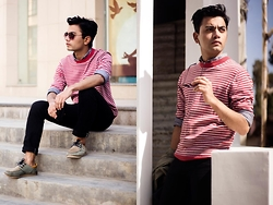 Goku Shrestha - H&M Polka Dotted Shirt, Black Skinny Jeans, Ray Ban Aviator, Lining Sweater - Spring In His Mind