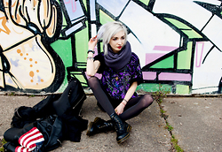 Kimi Peri - Unif Americana Moto Jacket, H&M Cat Ear Backpack, Shadowplaynyc Glow In The Dark Constellation Tee, Calvin Klein Purple Scarf, Dr. Martens Boots, Black Tights, Selfmade Peacock Copper Necklace - I Need More Space