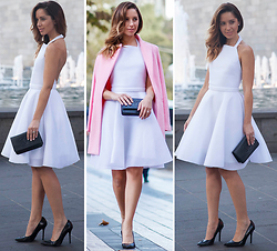 Friend in Fashion * - White Mesh Backless, Baby Pink - THE LITTLE WHITE DRESS