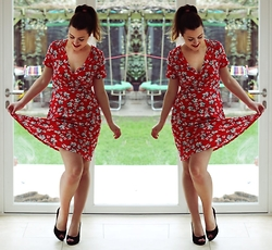 Daisy A - Asda Red Floral Wrap Tea Dress, New Look Black Peep Toe Heels, Mac Ruby Woo Red Lipstick - Florals for spring