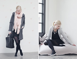 Joana ♡ - S.Oliver Jacket, Kiomi Bag, Promod Scarf, Tamaris Shoes, Happinessboutique Necklace, Zalando Sweater - Greyheart